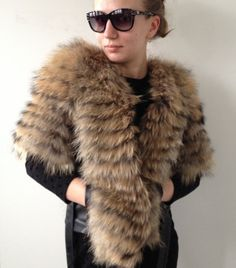 Coat  bolero  raccoon fur and genuine leather