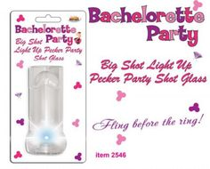 Bachelorette Big Shot Glass with string necklace. Illuminate your night with the Super Bright Light of the big shot Pecker light up shot glass!  Flashing multi-colored light show is a real attention getter at any night time party gathering! Convenient  Hang string makes it easy to find during Party Time! Fling before the ring.