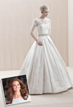 It's no surprise that the Duchess of Cambridge's gown, designed by Sarah Burton of Alexander McQueen, was the most eagerly anticipated wedding dress of the year. The couture creation featured a form-fitting bodice, a full skirt fashioned from ivory and white satin silk gazar, and elegant long, lace sleeves. This one from Blue by Enzoani gives a modern interpretation with its high bateau neckline and jeweled sash.