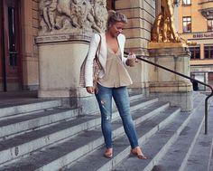 For Work: not destroyed jeans though, but the flats, top and white blazer I love.