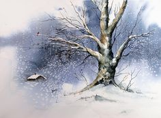 Winter tree painting by sam sidders - winter tree fine art prints and poste Watercolor Art Diy, Watercolor Trees, Watercolor Landscape, Landscape Paintings, Winter Tree Drawing, Winter Painting, Painting Trees, Tree Paintings, Winter Trees