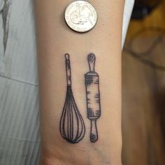 Whisk rolling pin illustration tattoo by Susie Humphrey