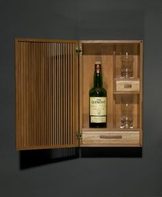 Ben Fleis, Scotch and a Cigar, Swiss pear, American sycamore Drinks Cabinet Spanish cedar, brass Small Liquor Cabinet, Drinks Cabinet, Small Cabinet, Cabinet Furniture, Fine Furniture, Furniture Making, Furniture Design, Whiskey Gift Set, Wall Mounted Bar