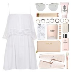 """""""Untitled #221"""" by rachelallegra on Polyvore featuring Topshop, TOMS, Fendi, Michael Kors, Chanel, Casetify, Estée Lauder, Iosselliani, Kate Spade and Clinique"""