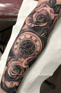 John tattoo old school tattoo arm tattoo tattoo tattoos tattoo antebrazo arm sleeve tattoo Clock Tattoo Sleeve, Cool Half Sleeve Tattoos, Cool Arm Tattoos, Badass Tattoos, Arm Tattoos For Guys, Trendy Tattoos, Leg Tattoos, Body Art Tattoos, Wrist Tattoo