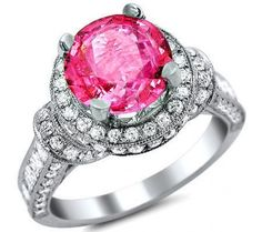 3.0ct Round Pink Sapphire Halo Diamond Engagement Ring 18k White Gold Front Jewelers
