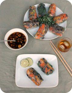 » Vegetable Spring Rolls with Sesame Ginger Dipping Sauce #vegan #entree #recipe