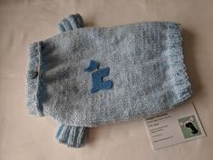 Small Soft Dog Jumper in pastel blue sparkly baby wool
