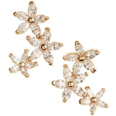 BONHUER JEWELRY Brigette Floral Stud-Climber Earrings ($85) ❤ liked on Polyvore featuring jewelry, earrings, accessories, gold, boho jewelry, 18k jewelry, earrings jewelry, sparkle jewelry and floral stud earrings