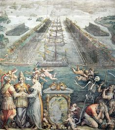 The order of battle at the Battle of Lepanto, in a 1572 painting by Giorgio Vasari and commissioned by the pope. In the foreground, Vasari anthropomorphizes the Christian powers and shows some. Giorgio Vasari, Italian Renaissance, Renaissance Art, Battle Of Lepanto, Christian Leave, Medieval Paintings, Bride Of Christ, Italian Painters, Military History