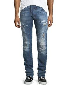 PIERRE BALMAIN Distressed Skinny Moto Jeans, Darker Blue. #pierrebalmain #cloth #