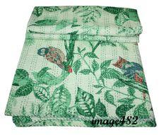 Owl Hand Block Print Indian 100% Cotton Queen Kantha Quilt Bedspread Decor #Handmade #Traditional