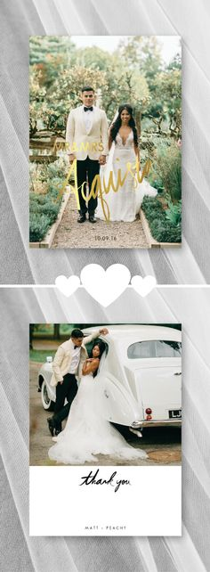 Faux Gold Foil Thank You Card | Wedding Photo Thank You Card | For the Love of Stationery | Three Nails Photography