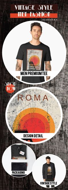 Men�s Premium T-Shirt  Vintage Travel Poster, Aged and Weathered - Roma  Design inspired by vintage travel and advertisements posters from the late 19th century.  (Also available in mugs, shirts, duvet covers, acrylic , phone cases,   kid fashion, clocks)  #vintage  #oldies #grunge #retro #travelposter   #vintageposter #vintagetravel #buyart #giftideas #redbubble   #teepublic #lisalizadesign #vintagefashion    #men #tshirt #menfashion