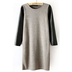 Gray Sweater Dress Leather Sleeves Adorable mini dress with black pleather sleeves. Unbranded and fits like an XS. Urban Outfitters kind of style so that's why it is listed under that brand. Urban Outfitters Dresses