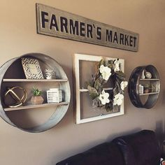 Loving how Kristin styled our Repurposed Drum Wall Shelves! Thx for tagging AFH! Farmhouse Wall Decor, Country Decor, Rustic Decor, Vintage Farmhouse Decor, Vintage Kitchen Decor, Circle Shelf, Antique Farmhouse, French Farmhouse, Metal Wall Decor