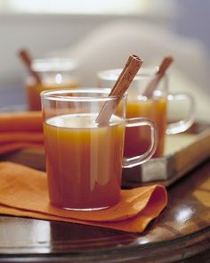 Apple-Pie Cider  Serving hot cider spiced like an apple pie is a wonderful way to greet Thanksgiving guests. Add a cinnamon stick to each mug for stirring, and a measure of brandy for the adults.