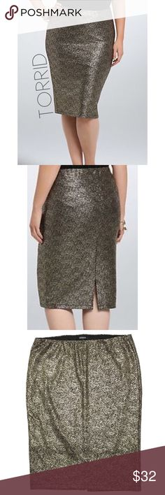 af47bfd30c241 Torrid gold foil stretch midi pencil skirt 12 14 0 Excellent gently worn  condition