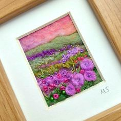 Wet felted and needle felted with hand embroidery, by British Textile Artist Maxine Smith. This scene is inspired by the stunning scenery of the Shropshire Hills. Buy now on Etsy Felt Pictures, Textile Artists, Needle Felting, Wool Felt, Hand Embroidery, Scenery, British, Textiles, Dance