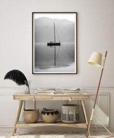 Plakat czarno biały jezioro plakat z jeziorem plakat z | Etsy Nursery Wall Decor, Etsy Shop, Studio, Black, Home Decor, Poster, Decoration Home, Black People, Room Decor