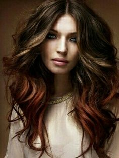 Brown & red Ombre