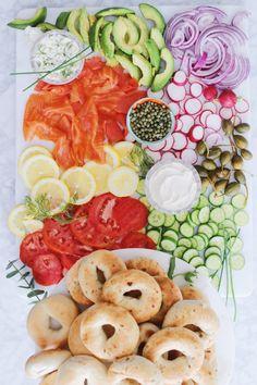 Yom Kippur Break-Fast Bagel Board | Rebekah Lowin Charcuterie And Cheese Board, Cheese Boards, Caper Berries, Whole Food Recipes, Cooking Recipes, Yom Kippur, Jewish Recipes, Serving Utensils, Rosh Hashanah