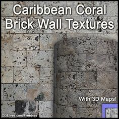 Download Free Hi-Res Caribbean Coral Brick Wall Textures Pack. With Free Coral Old Stone Wall Seamless Textures + 3D Maps! Free Commercial Usage Rights.