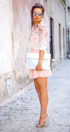 Floral Chiffon Shirt & Chiffon Skirt & Silver Details  by A Piece of Anna