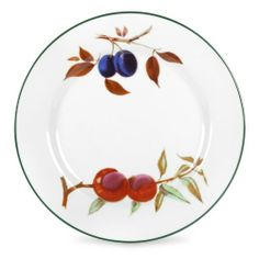 Royal Worcester Evesham Vale Dinner Plate, Set of 4 by Portmeirion USA. $40.00. Microwave safe. White with vibrant fruit motifs with green banding. Fine english porcelain. Set includes four 10-1/2-inch dinner plates. Dishwasher safe on low setting. The Evesham pattern by Royal Worcester is a highly collectible English design on fine porcelain. The pattern is named after a local fruit-growing region in England. Each piece is beautifully decorated with a variety of s...