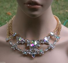 Aurora Borealis Necklace & Earrings, Glass & Lucite Beads, Drag Queen, Pageant #Kirakira
