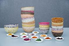 Plants and spices crafted into colourful paper bowls - The Chromologist