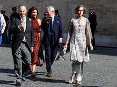 Guests attend the wedding of Prince Amedeo Of Belgium and Elisabetta Maria Rosboch Von Wolkenstein at Basilica Santa Maria in Trastevere on July 5, 2014 in Rome, Italy.