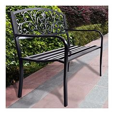 NEW! 50' Patio Park Garden Bench Porch Chair Steel Frame Cast Iron Backrest >>> Read more at the image link. (This is an affiliate link) #PatioFurniture