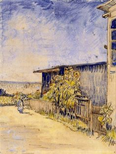 Shed with Sunflowers, 1887, Vincent van Gogh Medium: ink, watercolor on paper