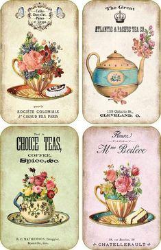 Vintage Labels Vintage inspired tea company cup scrapbooking crafts set 8 with envelopes Vintage Labels, Vintage Ephemera, Vintage Cards, Vintage Paper, Printable Vintage, Free Printable, Envelopes, Etiquette Vintage, Images Vintage