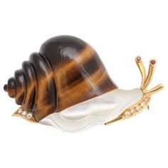 Piaget Tiger's Eye Mother-of-Pearl Diamond Gold Whimsical Snail Pin