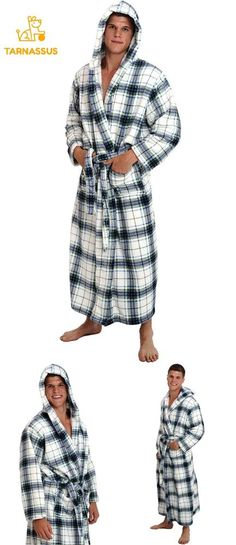 Alexander Del Rossa Mens Fleece Plaid Robe Long Hooded Bathrobe  fashion   clothing  shoes 952b2f76b