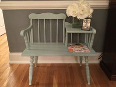 Vintage Gossip/Telephone Chair gets new life with chalk paint. Diy Furniture Redo, Farmhouse Furniture, Painting Furniture, Home Projects, Home Crafts, Vintage Telephone Table, Gossip Bench, Chalk Ideas, Country Sampler