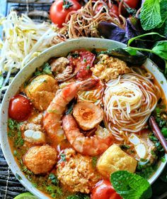 Homemade bun rieu is the best! Wouldn't you agree?  Tag a friend who LOVES noodle soups. (: @the.colors.of.yum)