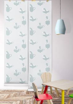 162 - Ducks in Cups Boutique Wallpaper by Milton & King