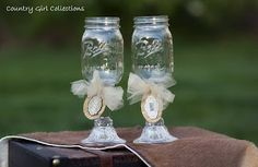 Bride & Groom Mason Jar Glasses By Country Girl Collections
