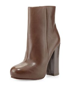 X2EFW Ash Darling Leather Ankle Boot, Stone
