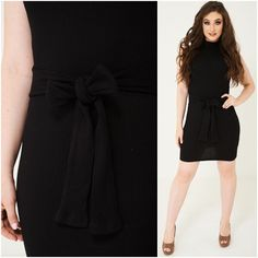 866394c87c987 Womens Ribbed Tie Front Waist Bodycon Dress Black Fitted Stretch Autumn  Winter