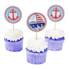 25 Nautical Cupcake Picks by jenuinecraftsandmore on Etsy