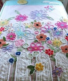 Garden Party quilt vintage chenille, via Etsy. by Banphrionsa
