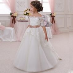 decor F3028 Lace Kids Evening Gown Half Sleeves Off The Shoulder Party Ball Gown Flower Girl Dress First Communion Dresses For Girls