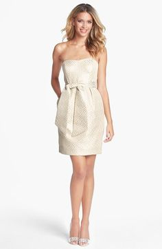 Free shipping and returns on Jenny Yoo Metallic Jacquard Sheath Dress (Online Only) at Nordstrom.com. Gleaming golden dots accent the jacquard weave of a ritzy strapless sheath designed with a coordinating sash that can be knotted or tied into a plush bow for waist-defining dimension.