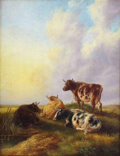Jan Bedjis Tom Boskoop Leiden Antique Original Oil Painting River Cattle Signed Leiden, Cattle, Walls, Beef, Oil, River, The Originals, Antiques, Recipes