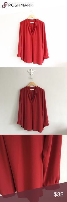 "Ann Taylor LOFT Red Chiffon Popover Tunic Blouse 100% polyester. Gently pre-loved with no rips or stains. Please see all pictures for an accurate description of condition. Chest: 46"". Length: 32"". *0520170233* LOFT Tops Blouses"