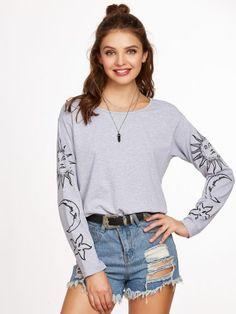 Heather Grey Vintage Print Drop Shoulder T-shirt